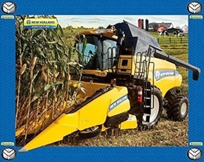 New Holland Tractor Combine Farming Large Cotton Fabric Panel