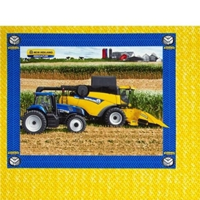 New Holland Combine and Blue Tractor Farming Pillow Panel