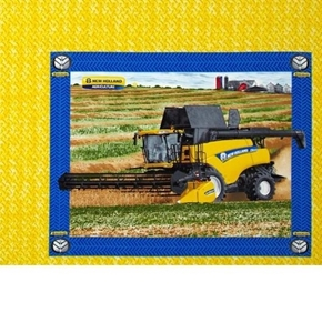 Picture of New Holland Combine Harvesting in the Field Farming Pillow Panel
