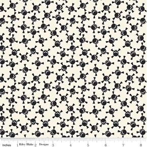 Picture of Eek Boo Shriek Halloween Skulls Crossbones Black Cream Cotton Fabric