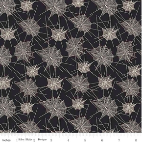 Picture of Trick or Treat Halloween Spider Webs White on Black Cotton Fabric