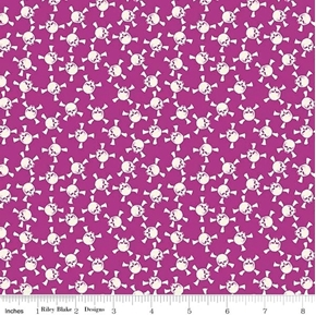 Picture of Eek Boo Shriek Halloween Skulls and Crossbones Purple Cotton Fabric