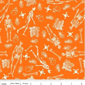 Eek Boo Shriek Halloween Skeletons and Bones Orange Cotton Fabric