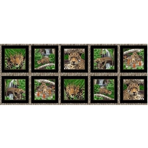 """On The Wild Side Cheetah Picture Patch 18x44"""" Cotton Fabric Panel"""