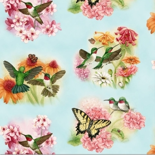Picture of Hummingbirds Beautiful Birds and Butterflies Pale Blue Cotton Fabric