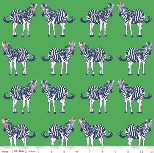 Safari Party Zebras with Funny Hats Zebra Green Cotton Fabric