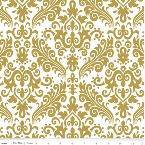 Picture of Sparkle Gold Metallic Golden Damask on White Cotton Fabric