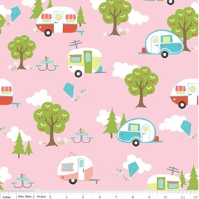 Picture of Glamper-licious Campers Trailers Glamper Camping Pink Cotton Fabric