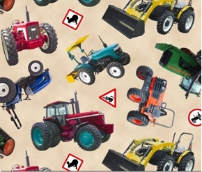 Picture of In Motion Farm Tractors Red, Blue and Green on Cream Cotton Fabric