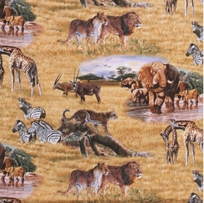 Picture of African Animals Giraffe Cheetah Zebra Lion on the Plains Cotton Fabric