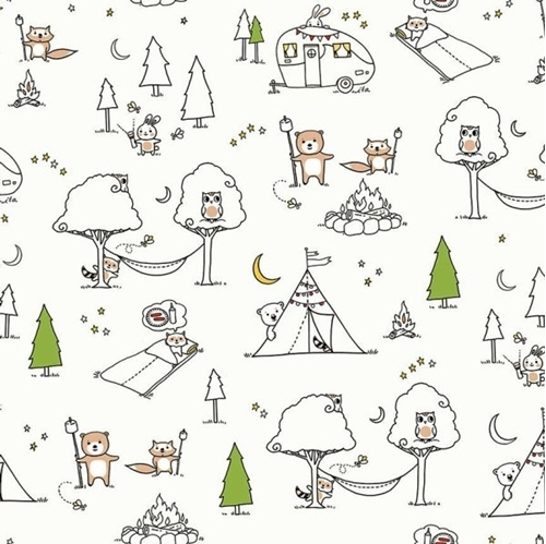 Camp Smore Ink and Arrow Animal Camp Scenic White Cotton Fabric