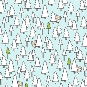 Camp Smore Ink and Arrow Animal in White Trees on Blue Cotton Fabric
