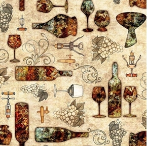 Picture of Perfectly Vintage Wine Bottles Grapes Glasses on Ecru Cotton Fabric