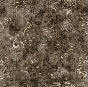 Perfectly Vintage Tonal Wine Grapes and Scroll Black Cotton Fabric