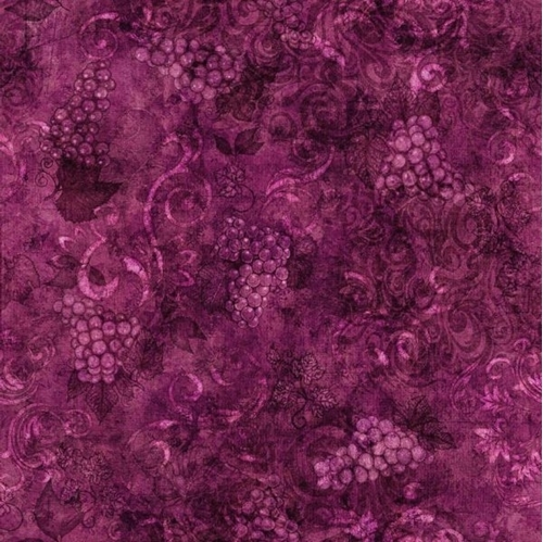 Perfectly Vintage Tonal Wine Grapes and Scroll Plum Cotton Fabric