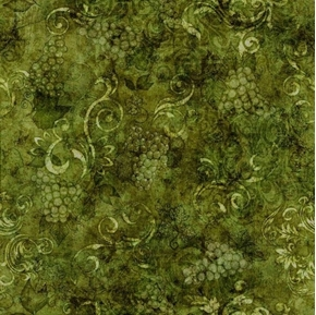 Picture of Perfectly Vintage Tonal Wine Grapes and Scroll Green Cotton Fabric