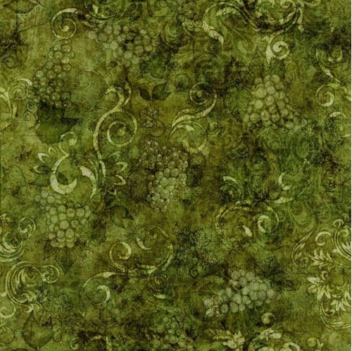 Perfectly Vintage Tonal Wine Grapes and Scroll Green Cotton Fabric