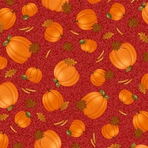 Picture of Harvest Greetings Tossed Pumpkins and Leaves on Red Cotton Fabric