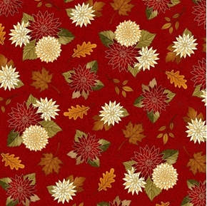 Harvest Greetings Chrysanthmums Mums and Leaves on Red Cotton Fabric