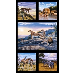 African Animals Giraffe Cheetah Zebra Lion 24x44 Cotton Fabric Panel