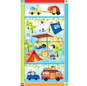 Picture of Jungle Camp Camping Animals Campers Monkeys 24x44 Cotton Fabric Panel