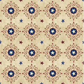 Stars and Stripes Forever Star Medallions Patriotic Ecru Cotton Fabric