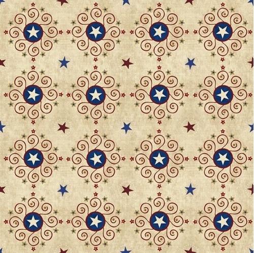 Stars and Stripes Forever Eagle Medallion Patriotic Gold Fabric Fat Quarter