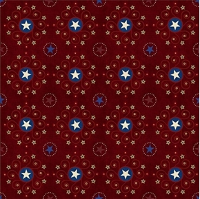 Stars and Stripes Forever Star Medallions Burgundy Cotton Fabric