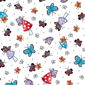 Picture of Mary Engelbreit Mary's Fairies Butterfly Mushroom White Cotton Fabric