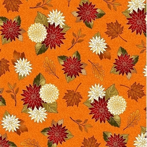 Picture of Harvest Greetings Chrysanthemums Mums and Leaves Orange Cotton Fabric
