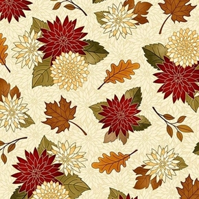 Harvest Greetings Chrysanthemums Mums and Leaves Beige Cotton Fabric