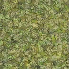 Perfectly Vintage Wine Corks on Green Cotton Fabric