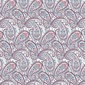 Picture of Monroe Paisley Red and Blue Paisley on White Cotton Fabric