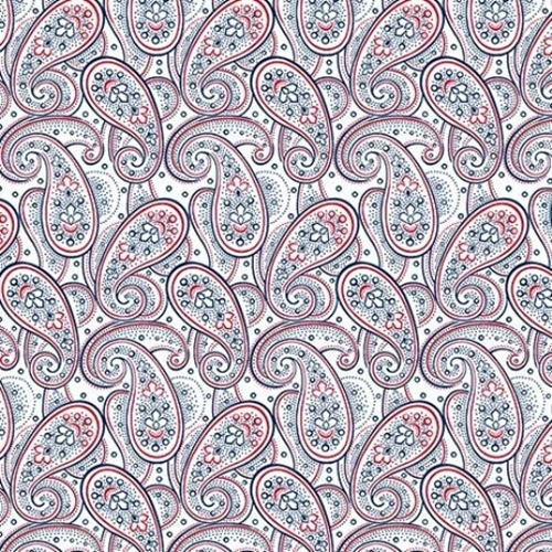 Monroe Paisley Red And Blue On White Cotton Fabric