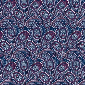Picture of Monroe Paisley Red and White Paisley on Blue Cotton Fabric