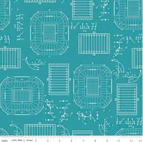 Picture of Game Day Football Game Plays Athletic Field Grid Teal Cotton Fabric
