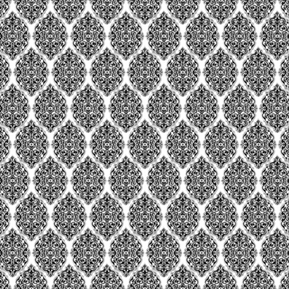 All For Love Damask Black and White Mirabelle Santoro Cotton Fabric