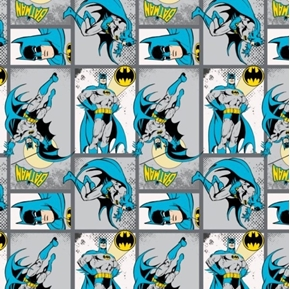 Picture of Batman DC Comics II Batman Action in Blocks Gray Cotton Fabric