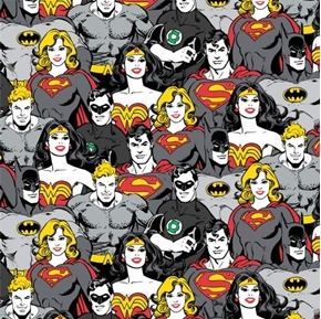 DC Comics II Superheroes in Grey Wonder Woman Superman Cotton Fabric