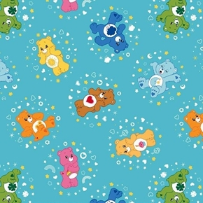 Picture of Care Bears Belly Badge Character Toss Blue Cotton Fabric