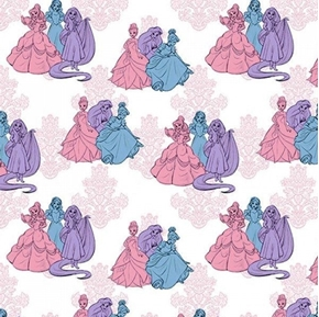 Disney Princess Fashion Friends Blue Pink and Purple Cotton Fabric