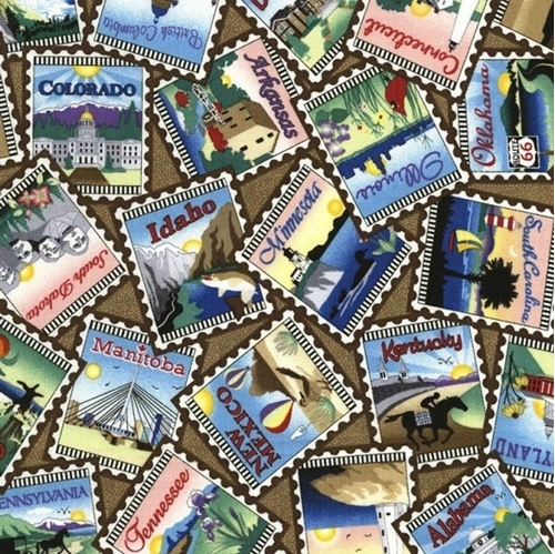 Picture of United States Postage Stamps Row by Row On The Go Cotton Fabric