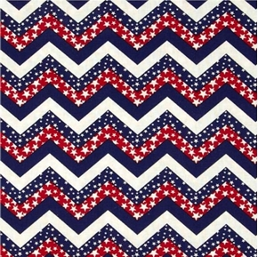 Patriotic Chevrons Red White and Blue Stars Chevron Cotton Fabric