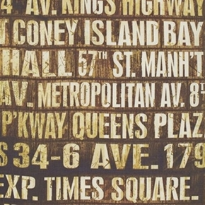 Picture of Subway Signs NYC Subway Stops New York Brown Cotton Fabric