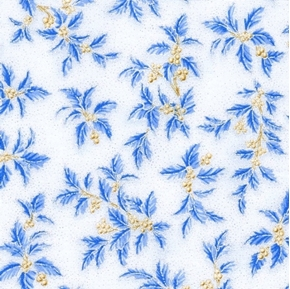 Holiday Flourish 10 Blue Holly Berries Silver Metallic Cotton Fabric
