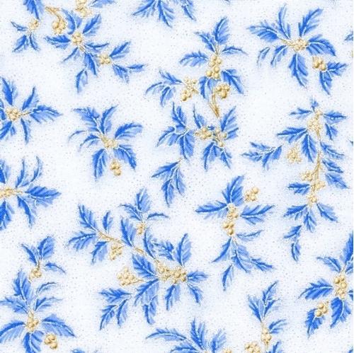 Holiday Flourish 10 Blue Holly Berries Silver Metallic Cotton Fabric