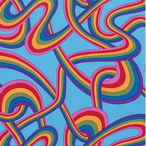 Picture of Fast Friends Rainbows Ribbons Candy on Blue Cotton Fabric