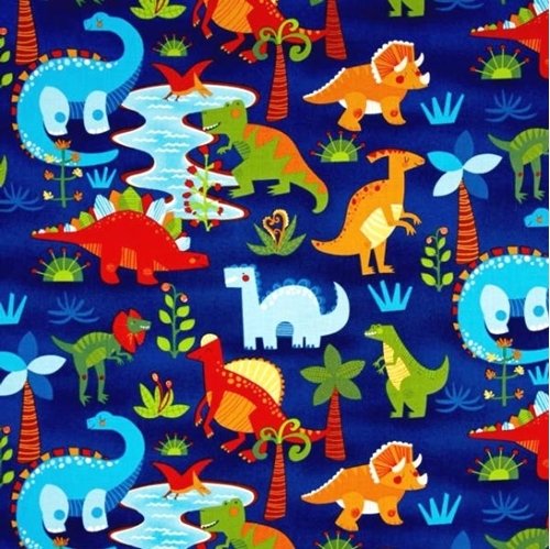Picture of Dandy Dinos Dinosaurs T-Rex Triceratops Stegosaurus Blue Cotton Fabric