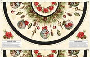 Picture of Woodland Holiday Tablecloth Tree Skirt 30x58 Cotton Fabric Craft Panel