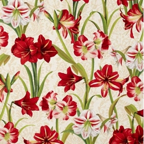 Picture of Making Spirits Bright Amaryllis Flowers Christmas 18x29 Cotton Fabric